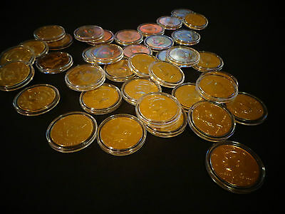 LOT OF 2 /_ 24 KT GOLD PLATED KENNEDY HALF DOLLAR COIN SET AIRTIGHT CAPSULE
