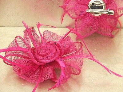 Fuchsia Pink Fascinator Brooch Clip Hair Feather Flower Wedding Ladies Day Races 4