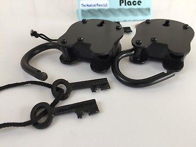 (2) x Iron Lock & Keys ~ Old Vintage Antique 1800s Style ~ Black Jailer Police 4