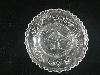 Clear Glass Antique Pressed Glass Small Plate Wedding Day Motto Sandwich 3 Weeks 6