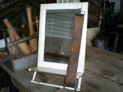 Early Vintage Hanging Shaving Mirror w/Towel Bar & Glass Shelf Bathroom Mirror 2