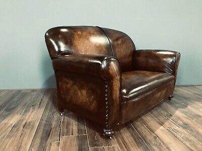 Restored Original 1920's Art Deco Club Sofas In Hand Dyed Leather 8
