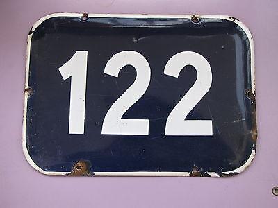 LARGE vintage ISRAELI enamel porcelain number 122 house sign # 122 2