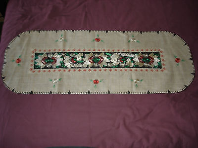 #071  Beautiful Vintage Hand-Embroidered Table Runner 39''/15''(100cm/39cm) 2