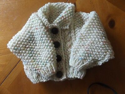 Brand New Hand Knitted Baby Girls Cream Fleck  Aran Cardigan With Collar 4