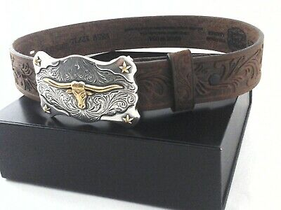 Brown Youth ~TOOLED OVERLAY~ WESTERN BELT Leather Silver Buckle Cowboy N44122 14
