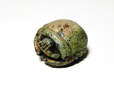 Zurqieh -  Ancient Egypt - Large Faience Button Scarab , 1070 - 600 B.c
