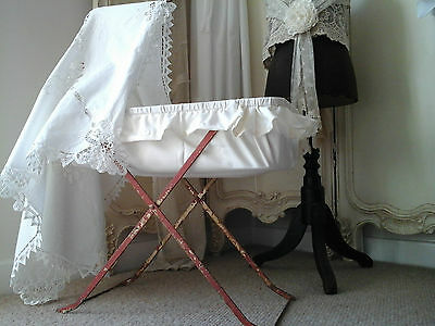 Antique PELSO England Registered Sm Cot/Moses Crib/Doll Bed~1940-Original Paint 5