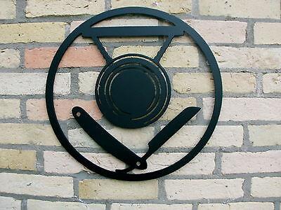 Innungsschild aus STAHL, Friseur  Zunftzeichen Innungszeichen Handwerkszeichen, 2