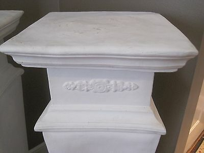 "Beautiful Pair of Estate White Plaster Pedestals, 35"" Tall 2"