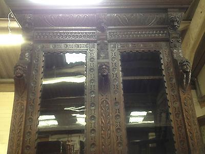 Carved Victorian Oak Library Bookcase Angel Dresser GreenMan LionsHead PussyOak1 9