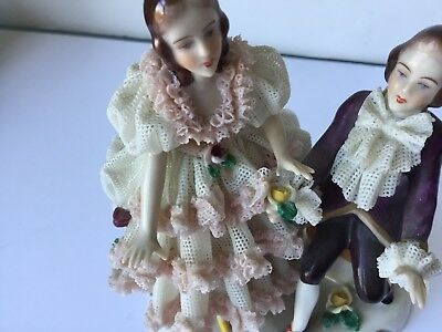 Antique Dresden Porcelain Figurines, Vintage, Stamped, Perfect State, Rare Piece 3