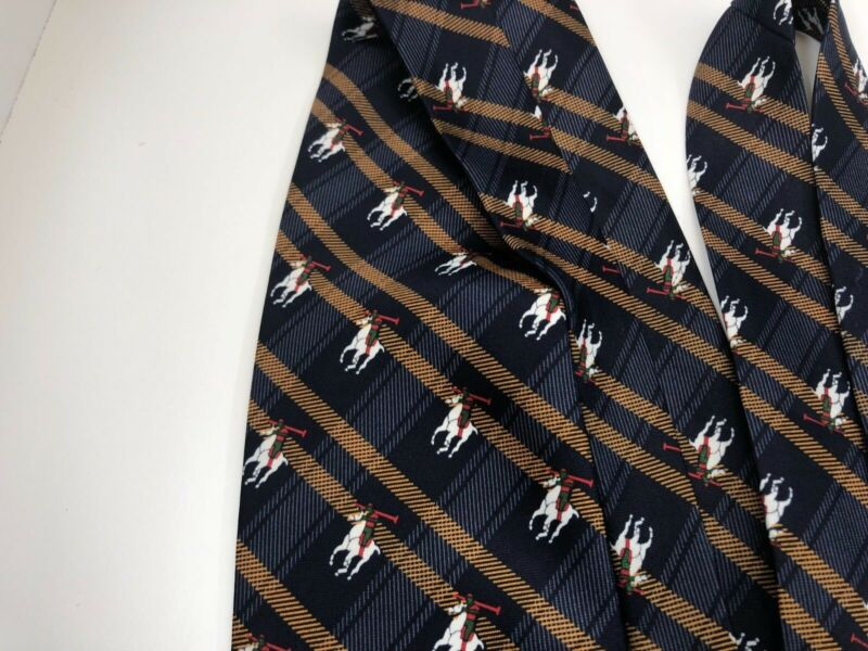 Authentic Rene Chagal Mens Tie 100% Silk Tie Polo Equestrian Blue Handmade 5