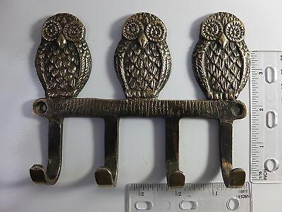 Antique Style Solid Brass Owls Birds Hooks Wall Hanger Key Coat Hat 2