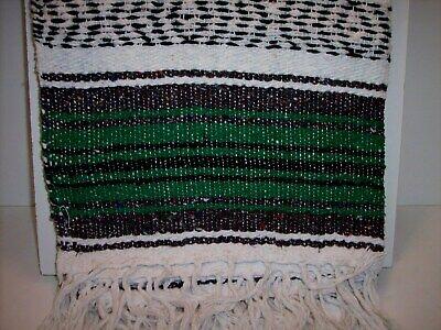 "Authentic GrassGreen Mexican Falsa Blanket Hand Woven Yoga Mat Blanket 74"" x 50"" 2"
