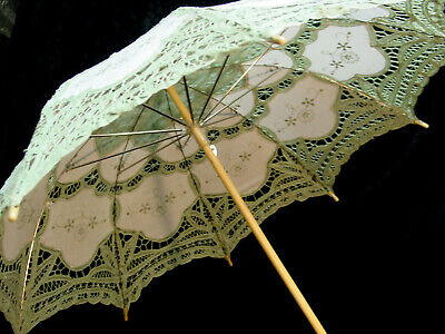 CottonBattenberg Lace Parasol Sage Green and off wht Victorian Edwardian style 6