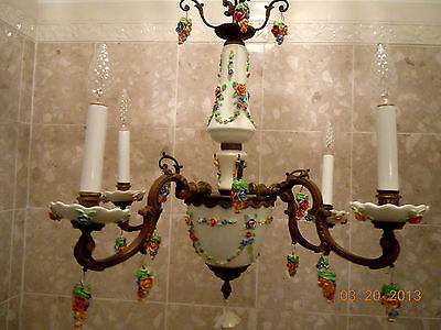 French Porcelain BARBOLA ROSES & SWAGS Chandelier with Hanging Rose Bouquets 2