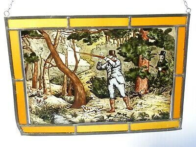 Vintage Shooting Scene Lead Lined Hand Painted Stained Glass Window Hanging 6