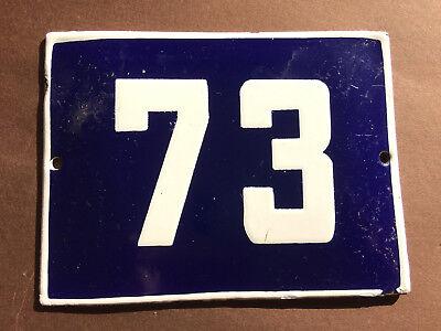 ANTIQUE VINTAGE ENAMEL SIGN HOUSE NUMBER 73 BLUE DOOR GATE STREET SIGN 1950's