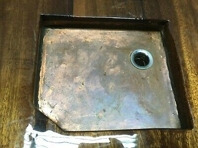 Vintage Handmade Copper Basin Old Boat Sink Mahogany Top 258-19E 7