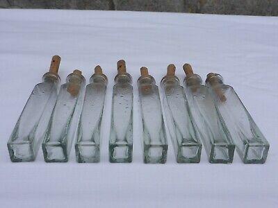 2 x alte kleine Medizin Glas Apotheke Apotheker Flasche grün lang ca. 9,5 cm 3
