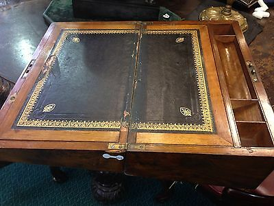 Antique Brass Bound Victorian Walnut  Writing  Box Slope 4