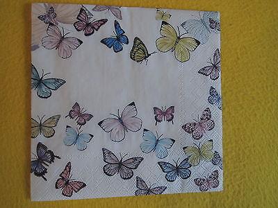 5 Servietten Schmetterlinge FLYING MAGIC butterfly bunt Serviettentechnik 1//4