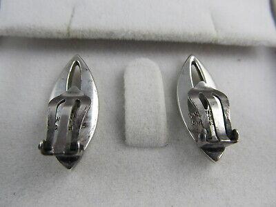 "Rua Denmark Clip Back Sterling Silver Attractive Earrings 1 1/8"" H Xlnt Cond 4"