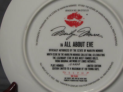 Marilyn Monroe 1992 Delphi Collector's Plate Series #9 Scene from All About  Eve