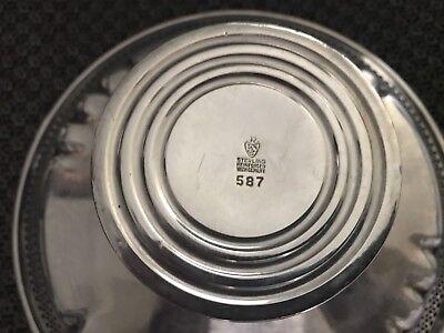 Vintage Revere Silversmiths Sterling Silver Round Pierced Pedestal Bowl Dish 11