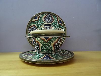 Antique Iznik ? Turkish ? Ottoman ? Pottery Plate Bowl + cover dish silver rim 2