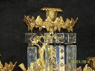 c1850's 3pc Set Girandole Majestic Candelabras Phili.-N.Y. w/Crystal Gold Gilded 8