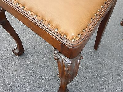 Incredible Pair Brown Leather Chippendale Style Carved Wood Accent Unemploymentrelief Wooden Chair Designs For Living Room Unemploymentrelieforg