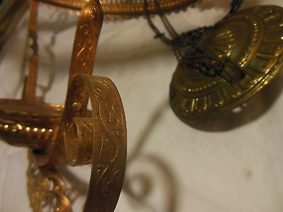 Antique Hand Painted Milk Glass & Ornate Brass Hanging Kerosene Lamp Chandelier 12