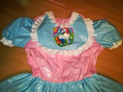 Adult Baby Kleid Windelhose Gummihose Sissy PVC LACK Diaper Plastik EINHORN XL 3