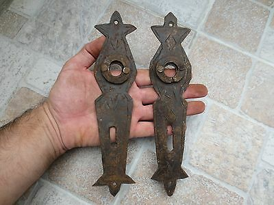 2 ANTIQUE19-20th C TOTALLY Hand Forged Wrough Iron CARVED DOOR LOCKS Old Vintage