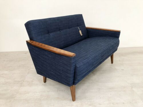 Danish Vintage Inspired Mid Century 50S 2 Seater Cocktail Sofa Settee In Navy 2