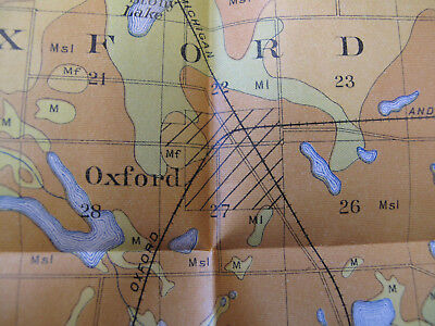 Folded Color Soil Survey Map Oxford Sheet Michigan Orion Clarkson Leonard 1905 2
