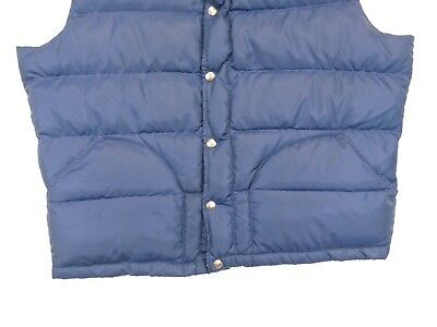 Vintage 1970's North Face Blue Down Filled Snap Puffer Vest Brown Label XL USA