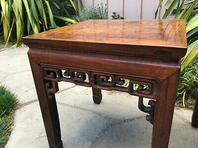 2 RARE ANTIQUE CHINESE HUANGHUALI WOOD SIDE TABLE  wood asian art chair 2