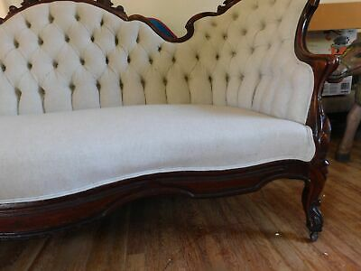 """Victorian Carved Sofa Mahogany Off-White Linen Type Fabric 40""""H 83 3/4""""W 8"""
