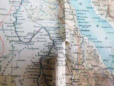 Antique 1903 Lithographed Map-Egypt Africa Nile Basin Red Sea-Stokes Co. COA 6