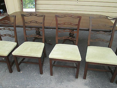 """57178   ETHAN ALLEN Table with 6 Chairs   Table Top 102"""" x 42"""""""