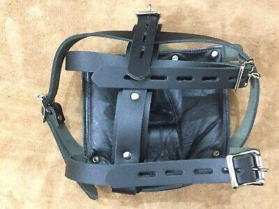 New Genuine Leather Bondage Padded Face Muzzle Locking Head Harness Role Play 2