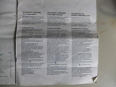 Instructions slide projector KODAK carousel S-AV GB French /& German  CD//EMail
