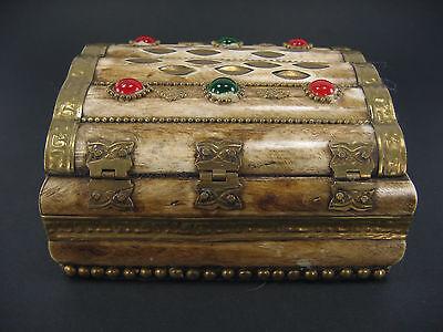 1940 -1960 ceramic / bone / ? Handmade stone Box Jewelry Storage Unique Vintage 3