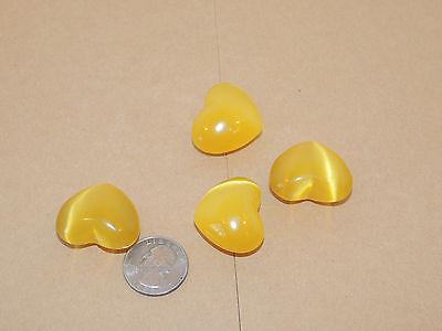 Yellow Heart  Polished Fiber Optics set of 4 (10357)