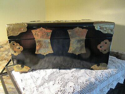 Vtg Asian Chinese Ebony Wood Jewelry Box White Jade Medallion Brass Mounts 5