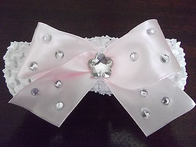 White Baby / Girls Crochet Romany Bling Headband with pink bow. 2