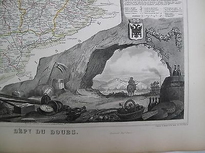 Handcolored Map ca. 1860 French Doubs Jura Mtns National  Atlas France Levasseur
